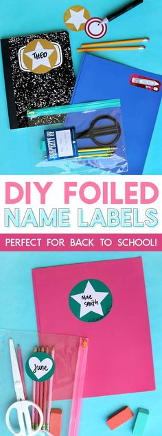 diy foiled name labe
