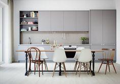 mauve kitchen, light grey kitchen, different chairs