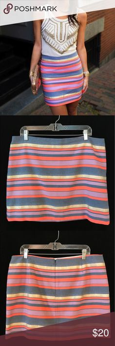 J. Crew (Factory) Striped Pencil Skirt 14 Denim blue, coral, lilac and gold metallic striped pencil skirt, cotton blend.  This skirt is in very good preowned condition J. Crew Factory Skirts Mini