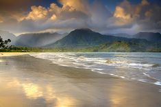 Hanalei Bay, Kauai, Hawaii/ stayed here for a few days, had a hotel closer to the waterfalls, we had breakfast early and got to enjoy the fall.. they diminish during the day.
