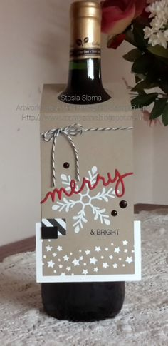 Stampin' & Scrappin' with Stasia Stampin' Up! Holiday Mini 2015 Holly Jolly Greetings and Christmas Greetings Thinlits Christmas Wine, Christmas Gift Tags, Xmas Cards, Christmas Greetings, Wine Bottle Tags, Wine Tags, Wine Bottles, Little Presents, Wine Gifts