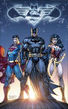 The DC Trinity (Superman, Batman, and Wonder Woman) - Jim Lee Comic Book Artists, Comic Book Characters, Comic Book Heroes, Comic Artist, Comic Character, Comic Books Art, Dc Heroes, Batman Vs Superman, Jim Lee Batman