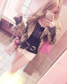 a Faux Leopard Fur Rider Jacket in stock Gyaru Fashion, Harajuku Fashion, Kawaii Fashion, Japanese Street Fashion, Tokyo Fashion, Soft Grunge, Japanese Trends, Tall Girl Fashion, Hello Kitty Dress