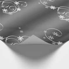 Metallic Grey White Swirls Christmas Wrapping Paper - metal style gift ideas unique diy personalize