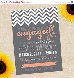 WEEKEND SALE DIY Printable Chalkboard Engagement Party Invitation