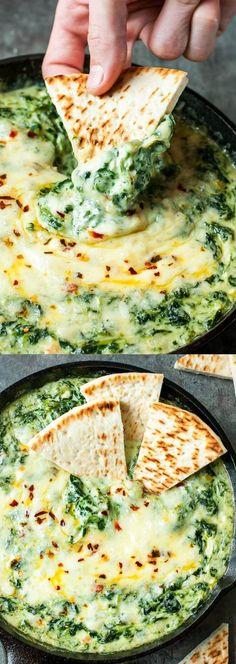 Serve this Cheesy Baked Shrimp and Spinach Dip at your next party and it's sure to be the first dish devoured! My friends and family BEG for this easy cheesy appetizer! #spinachdip #skillet #appetzier #snack #partyfood #shrimp #seafood #spinach #cheesedip