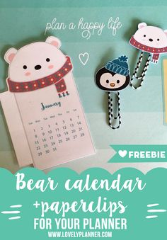 Free printable Bear Calendar divider to add in your planner this january 2017!