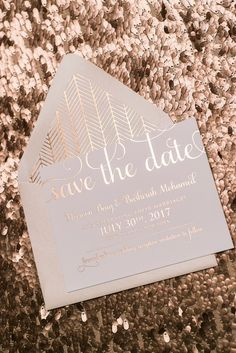 ADELE Save The Date, rose gold foil, chevron, boho patterns, elegant save the date, blush wedding