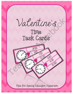 Valentines Match the Time Task Cards from Miss B's Special Education Classroom on TeachersNotebook.com -  (13 pages)  - 26 Match the Time Task Cards Recording Sheet Answer Sheet