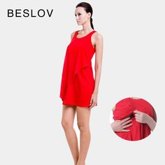 Red-Rayon-Spandex-Maternity-Dress-Summer