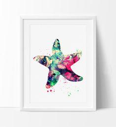 Starfish Watercolor Art, Watercolor Painting, Wall Art Print, Starfish decor, Large art, Large artwork, Nursery wall art, nursery decor(276)