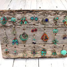 Practical multi-earring display board, handmade from reclaimed hardwood timber. #marketstall #marketstallsetup