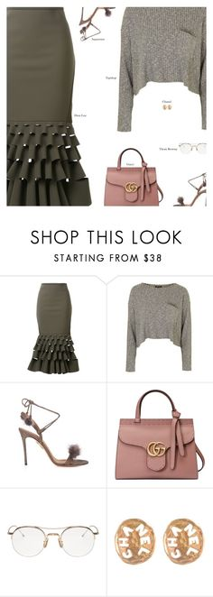 """""""Untitled #3770"""" by amberelb ❤ liked on Polyvore featuring Dion Lee, Topshop, Aquazzura, Gucci, Thom Browne and Chanel"""