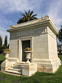 """Marion Davies - Mausoleum at Hollywood Forever.  Davies died of stomach cancer on September 22, 1961, in her home in Hollywood, California.  Her funeral at Immaculate Heart of Mary Church in Hollywood was attended by 200 people and many Hollywood celebrities, including Mary Pickford, Charles """"Buddy"""" Rogers, Mrs. Clark Gable (Kay Spreckels), and Johnny Weissmuller. She is buried in the Hollywood Forever Cemetery. Davies left an estate estimated at $20 million."""