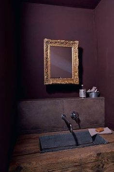 aubergine wall color (looks great with the gold too) My French Country Home, French Farmhouse, French Country Decorating, French Cottage, Country Style, Purple Rooms, Purple Walls, Plum Walls, Dark Purple Bedrooms