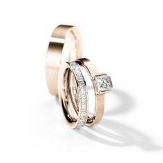 Henrich + Denzel - Lily Trauringe / Verlobungsringe - 750 Roségold - Diamanten +++ Henrich + Denzel - Lily Wedding Rings / Engagement Rings - 18k Rose Gold - Diamonds