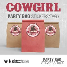 Cowgirl Decorations, Cowgirl Party, Loot Bags, Label Paper, Party In A Box, Printing Labels, Printed Bags, Printed Materials, Printing Services