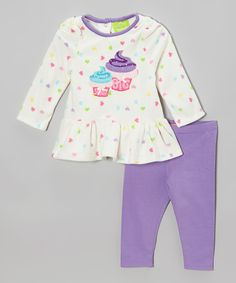 Another great find on #zulily! White Cupcake Tunic & Lavender Leggings - Infant & Toddler by Watch Me Grow #zulilyfinds