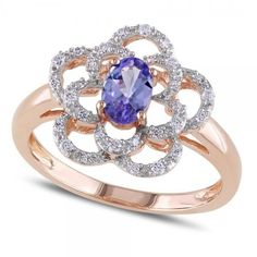 Allurez Oval Tanzanite & Diamond Flower Fashion Ring in 14k Rose Gold... ($575) ❤ liked on Polyvore featuring jewelry, rings, rose gold, 14k rose gold ring, two tone ring, diamond rings, oval cut engagement rings and engagement rings