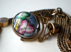 Antique Victorian Globe Pocket Watch Fob Chain.