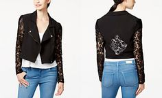 Material Girl Juniors' Lace-Trim Moto Jacket, Only at Macy's