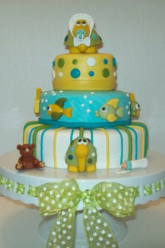 turtle / teddy baby shower cake by Jillfcs