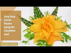 Very Sexy Carrot Flower Laying On Cucumber Leaf Design Garnish - YouTube