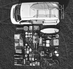 birds eye view | camper van | camping | luggage | surf board | bike | happy days | cooking utencils | www.republicofyou.com.au