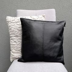 Black leather pillow cover, made of reused leather | Vank Design | Handmade leather goods