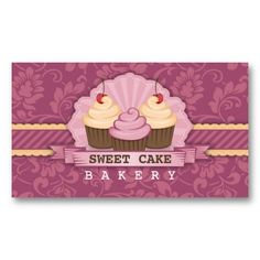 Cupcake Bakery Cute Business Card by #wrkdesigns