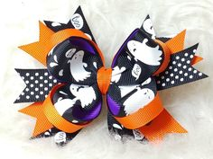 Boutique Stacked Hair Bow - Halloween – HairBowStop Diy Halloween Hair Bows, Halloween Fabric, Fabric Hair Bows, Diy Hair Bows, Stacked Hair, Boutique Hair Bows, Diy Bow, Diy Hairstyles, Crafty