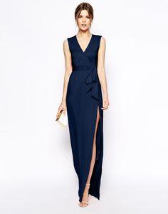 robe longue cocktail tendance tres fendue bleu nuit
