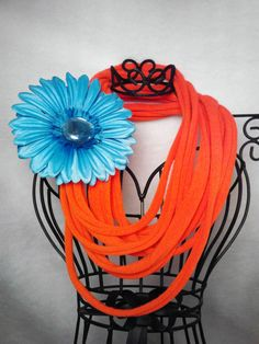 Upcycled tshirt necklace with blue flower clip