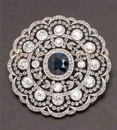 Stunning cushion cut sapphire and diamond brooch - Edwardian era by LiveLoveLaughMyLife