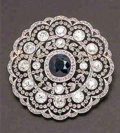 Stunning cushion cut sapphire and diamond brooch - Edwardian era by LiveLoveLaughMyLife