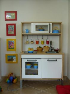 ikea play kitchen painted and papered wish they made a fridge baby pinterest. Black Bedroom Furniture Sets. Home Design Ideas