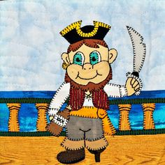 Pirate first mate PDF applique quilt block pattern; baby boy or child's downloadable quilt block pattern; Ms P Designs USA by MsPDesignsUSA on Etsy