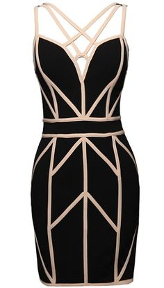 Living Legend Dress: Features a beautiful black foundation accented by contrast beige geometric piping throughout, spellbinding strappy neckline, and an exposed rear zipper to finish. Simple Dresses, Sexy Dresses, Cute Dresses, Casual Dresses, Short Dresses, Bachelorette Outfits, Cute Fashion, Fashion Outfits, Geometric Dress