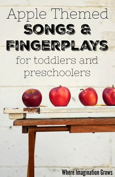 Simple apple-themed action songs and fingerplays for toddlers and preschoolers. Fun fall activities for circle time or group time to do in preschool, homeschool, or your home daycare! for toddlers Apple Themed Songs for Toddlers and Preschoolers Preschool Fingerplays, Preschool Apple Activities, Preschool Apple Theme, Autumn Activities For Kids, Preschool Music, Fall Preschool, Toddler Preschool, Preschool Apples, Music Activities