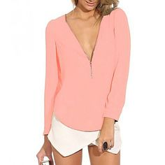 Casual look can also be stylish and sexy. Like this V neck long sleeve chiffon shirt. We have it in different colors!
