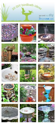 20 DIY Birdbath Ideas at Me and My DIY