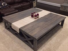 large square rustic baluster wide plank coffee table | wide plank