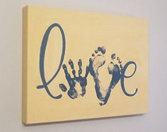 Enjoy adding a handprint and footprints on this original, custom, Love keepsake. Available in any color, making it perfect for any room in your home!  Please Note: Picture 1 is a sample of the completed artwork ~ you will receive a canvas similar to Picture 3 (without prints) so all you have to do is add the prints with the included print kit, to complete your keepsake! I use layers of acrylic paint on a 12x16 gallery wrapped canvas ~ with DEEP 1.5 sides.  This painting comes complete with…