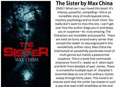 RT @JanetCBrennan #IndieBooksBeSeen  New Review of The Sister by @MaxChina3  #ASMSG