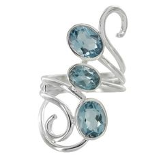 Sterling Silver Blue Topaz Oval Swirl Three Row Bypass Ring