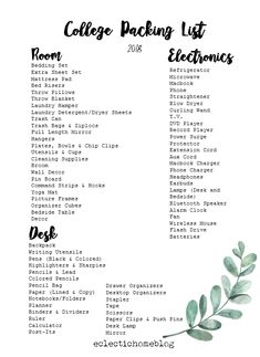 College Packing List 2018 – Eclectic Home - college dorm Dorm Room List, College Dorm List, College Dorm Checklist, College Dorm Essentials, College Life Hacks, College Dorm Rooms, College Supply List, Uni Dorm, Alabama College