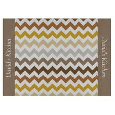 Fall Colors Chevron Glass Cutting Board ................This design features a Fall Colors Chevron pattern. These colors can be found in the autumn/fall seasons such as leaves, trees, grass. The TEXT on both sides (left and right) can be customized with your own name. Check out my store for more colors.
