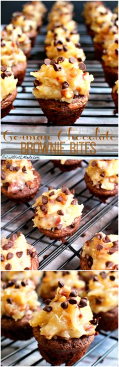German Chocolate Brownie Bites - Fudgy brownie bites are topped with a decadent coconut-pecan frosting and mini chocolate chips. If you like German Chocolate Cake, you'll LOVE these!!