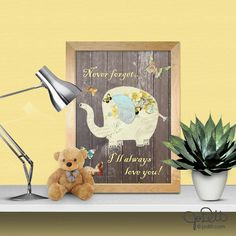 Items similar to Elephant Vintage Nursery Decor - Never forget, I will always love you - Shabby Chic nursery decor PRINTABLE nuetral baby shower decoration on Etsy Vintage Nursery Decor, Diy Nursery Decor, Baby Decor, Elephant Nursery Art, Cute Elephant, Diy Framed Art, Nursery Prints, Baby Shower Decorations, Indoor Garden