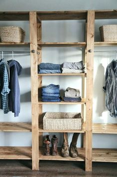 Ana White Build a Industrial Style Wood Slat Closet System with Galvanized Pipes Free and Easy DIY Project and Furniture Plans